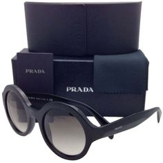 Pre-owned New Prada Sunglasses Spr 06q 1ab-0a7 51-22 Black Round Frame... ($300) ❤ liked on Polyvore featuring accessories, eyewear, sunglasses, round frame glasses, prada, gray sunglasses, prada sunglasses and black eyewear