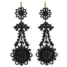 Rare Georgian Berlin Iron Earrings