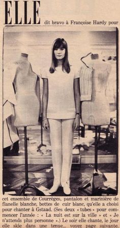 Francoise Hardy wearing Andre Courreges in a 1965 issue of Elle Magazine.  (Famous Fashionistas)