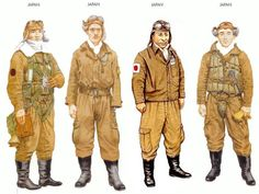 World War II Uniforms - Japan - 1941-42, PO3/c Sadamu Komachi, serving aboard Shokaku. Japan - 1945 early, Lt Yutaka Morioka Of the 302nd AG at Atsugi. Japan - 1945, equipment pilot japan. Japan - 1942 may, PO1/c Takeo Tanimizu, serving aboard Junyo.