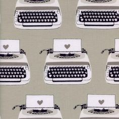 Typewriters by Melody Miller - Yard - Cotton + Steel Black Gray White Fabric - Cotton - Black & White Collection Fabric Retro Inspired by Owlanddrum on Etsy