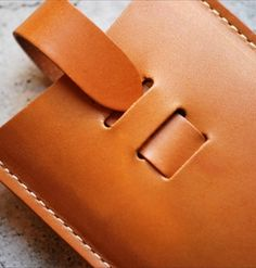 """nice fold-over strap detail """"Leather Card Case Camel"""""""