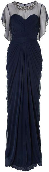 Adrianna Papell Blue Short Sleeve Embellished Neck Dress
