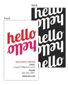 Hello RedPink Business/Calling Cards (250 qty) for 38.00