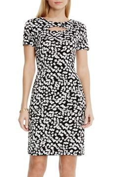Vince Camuto 'Random Dabs' Print Keyhole Detail Jersey Sheath Dress available at… Office Dresses, Casual Dresses, Fashion Dresses, Dresses For Work, Black And White Graffiti, Black White, White Tunic Tops, Pencil Dress, Nordstrom Dresses