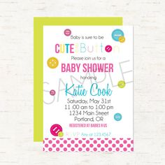 Cute As A Button Baby Shower Invitation or Evite For a Girl or Gender Neutral, Double Sided - DIGITAL FILE ONLY