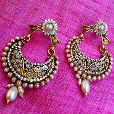 Ethnic Pearl Polki Bali Hoop Elegant Earring Indian Pakistani Jewelry AA1W | eBay