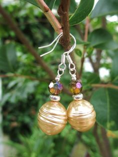 Honey Pearl Shimmer Earrings - Available from willieandlu.etsy.com