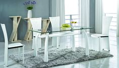 Ramona Rectangular Dining Table with Glass Top and Metal, PVC Covered Base | RAMONA-DT | Chintaly