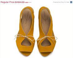 ON SALE Lola Yolk, Yellow Sandals, Leather Sandals, Handmade sandals, Flat Sandals