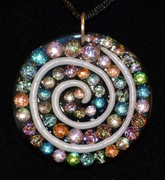 https://www.etsy.com/listing/123417744/sparkly-spiral-pendant-fused-glass-swirl  Large Spiral Dichroic Pendant by StephGlass on Etsy