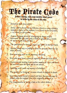 "Pirate Code - ""Ahoy there, Matey! After a voyage filled with pillaging and plundering, The Jaded Jewel--a pirate ship captained by Redbeard, an old but . Pirate Art, Pirate Theme, Pirate Ships, Pirate Crafts, Pirate Decor, Pirate Code, Bateau Pirate, Pirate Halloween, Captain Jack Sparrow"
