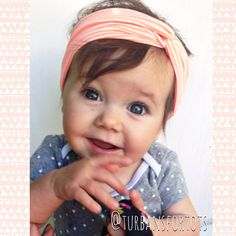 Coral striped baby turban by turbansfortots on Etsy, $9.50