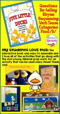 $ Five Little Ducks Unit-  Fifteen adorable duck and farm-themed speech and language activities for your spring nursery rhyme lessons from Speech Sprouts