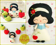 The snow white garland pattern. via Etsy by lindsey Felt Dolls, Plush Dolls, Doll Toys, Softies, Felt Patterns, Stuffed Toys Patterns, Felt Diy, Felt Crafts, Sewing Crafts