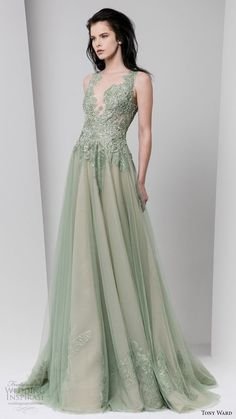 tony ward fall winter 2016 2017 rtw sleeveless illusion neckline a line evening dress powder green wedding inspiration