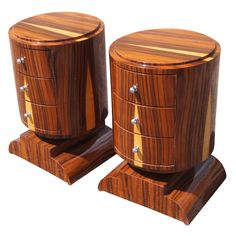 Pair Of Macassar Art Deco Nightstands