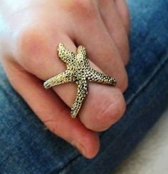 Starfish Ring Antique Gold Wrap Armor Star Fish Statement SZ 7-7.5 so cute from @modtoast!