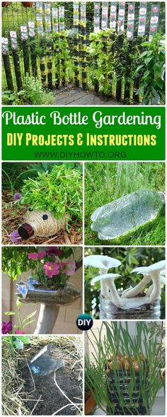 Collection of DIY Plastic Bottle Garden Projects & Ideas: herbs, vegetables and flower gardening, water irrigation and more via @diyhowto