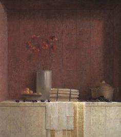 JAN VAN DER KOOI stilleven met klaprozen en asperges