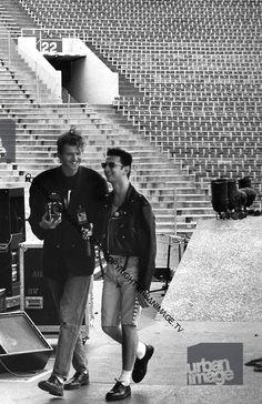 Anton Corbijn and David Gahan - Pasadena Rose Bowl, June 1988 © Adrian Boot.