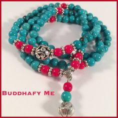 Necklace/bracelet Natural Turquoise And Jade Bead With Carved Tibetan Silver Bead by Buddhafy Me