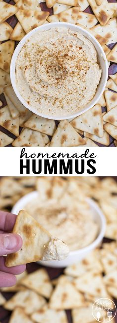 Homemade Hummus - This delicious and flavorful homemade hummus can be made in about 5 minutes time for a perfect healthy snack! Great with veggies or crackers.