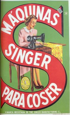 """1 - Singer Sewing Machine, Scanned from the book """"Portugal Século XX, Crónica em Imagens, by Joaquim Vieira. Retro Vintage, Retro Ads, Vintage Cards, Vintage Postcards, Vintage Photos, Posters Vintage, Vintage Advertising Posters, Old Advertisements, Vintage Sewing Machines"""