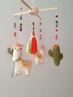 Llama Cactus Baby Mobile, Llama, Mobile tassel, Cactus mobile, Baby Mobile Felt, Mobile bébé, Nurser