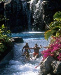 This luxury resort is known for its 25,700 sq. ft. Canyon Activity Pool. Nine pools are connected by a lazy-river that speeds up to white-water in some parts. There are jungle pools, slides, Tarzan rope swing, caves,