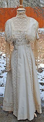 ANTIQUE DRESS EDWARDIAN c1915 WORSTED COTTON FANCY DAY DRESS GOWN