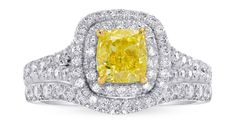 Women who wear both their engagement rings and wedding bands together often want to keep the two pieces together. Engagement Wedding Ring Sets, Wedding Bands, Popular Articles, Yellow Cushions, What Is The Secret, Cushion Diamond, Two By Two, Gems, Fancy