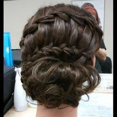 #wedding updo #hairstyles love the way the #braid weaves into it www.finditforweddings.com