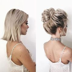 Updos-for-Short-Hair Wedding Hairstyles for Short Hair 2019 frisuren frauen frisuren männer hair hair styles hair women Updo Styles, Curly Hair Styles, Short Hair Wedding Styles, Wedding Hair For Short Hair, Ponytails For Short Hair, How To Style Short Hair, Short Hair Model, Short Hair Styles Easy, Short Models