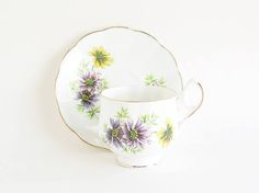 ROYAL DOVER October Cosmos Tea Cup and Saucer by SunshineSurprises