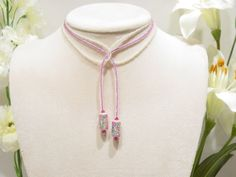 MARKDOWN - Porcelain beads Swarovski Crystal glass seed bead lariat necklace, L1. $ 35.00, via Etsy.