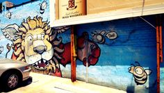 Lion & #bee graffiti at 3872 Broadway in Kansas City, MO (#KCMO) by #Scribe. More pictures here: http://chrisdeline.com/category/pictures/