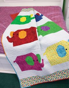 Your little one will want to snuggle right up with this parade of elephant friends. Heart Quilt Pattern, Baby Quilt Patterns, Boy Quilts, Girls Quilts, Elephant Quilt, Follow The Leader, Animal Quilts, Quilt Kits, Quilt Blocks