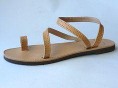 Leather Sandals Greek Handmade ankle loop women men por BlueDrop