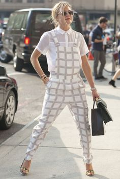 Hot Shots: The Best Street Style at NYFW (Updated!): A Topshop jumpsuit got layered up with a smart button-down.