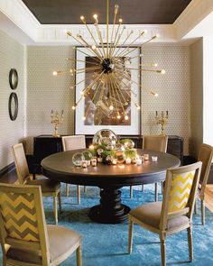 traditional dining room with mid century chandelier; Madrid Mix | ECLECTIC LIVING HOME