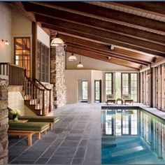 indoor pool - with a gym and sauna at the top of those stairs