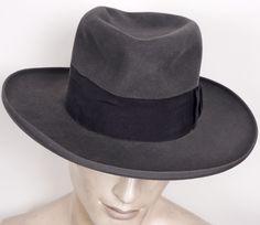 1930s Wide Brimmed Fedora by Huckel Czechoslovakia Gray Mens Hat 7 1/4