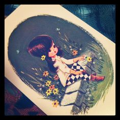 Vintage Cute Girl Playing Card