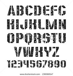 Stencil-plate font and numeral with shabby texture in military style. Black print on a white background - stock vector