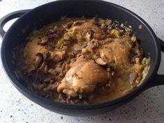 Pollo con puerros y setas, de Blue Cuisine
