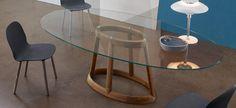 Greeny tavolo - ovale 240x120 cm – piano cristallo extrachiaro trasparente, base noce massello americano