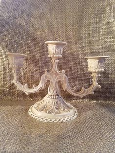 Etsy Shop, White Silver, Ceiling Lights, Painted Candlesticks, Candles, Refinishing Furniture, Vintage Silverplate, Chalk Painted Candlesticks, Vintage