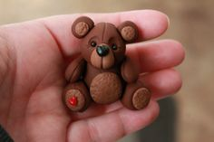 OOAK Hand Sculpted Teddy Bear  Polymer Clay   by GnomeWoods