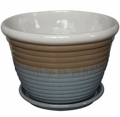 Trendspot PS00060S-160H Cream Blue Honey Jar Planter